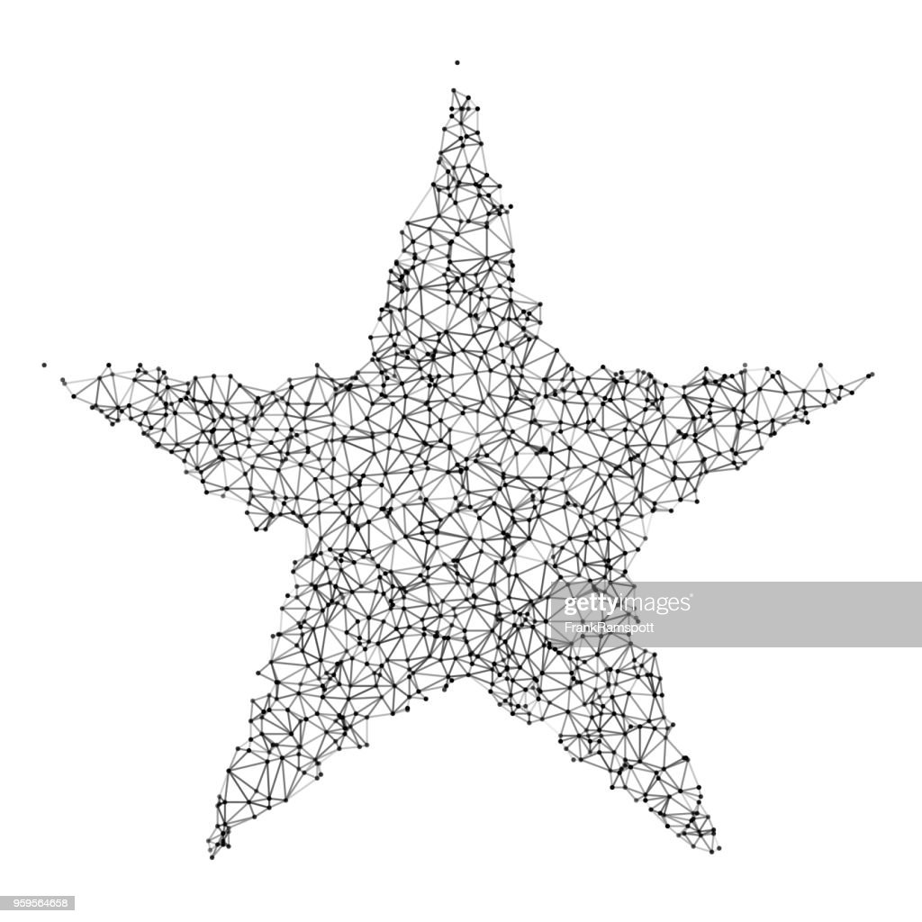 Star Network Black And White : Stock Illustration