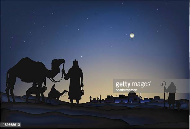 star of bethlehem - nativity scene stock illustrations