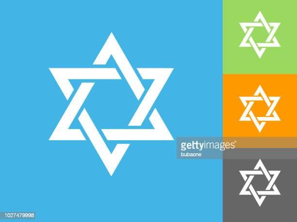 star of david  flat icon on blue background - hebrew script stock illustrations, clip art, cartoons, & icons