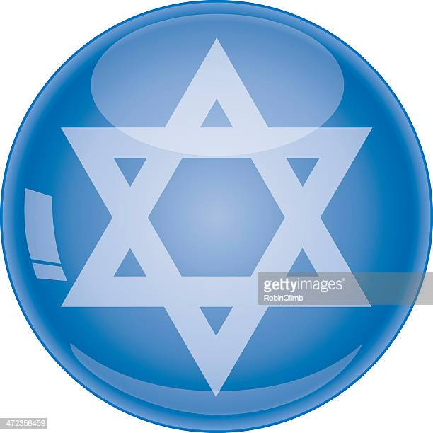 Star Of David Icon On Color Circle Background Pattern Vector Art
