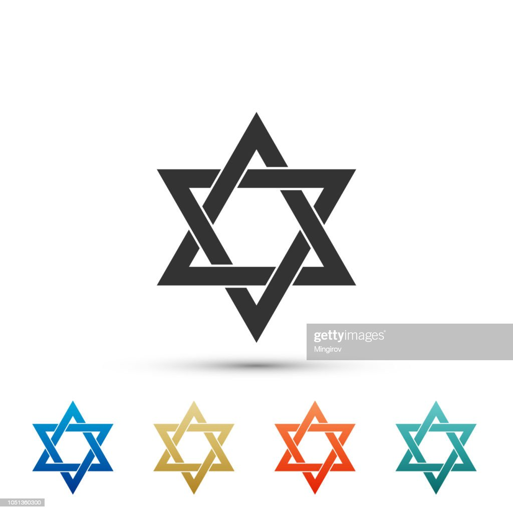 Star of David icon isolated on white background. Set elements in colored icons. Flat design. Vector Illustration