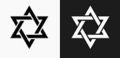 Star of David Icon on Black and White Vector Backgrounds