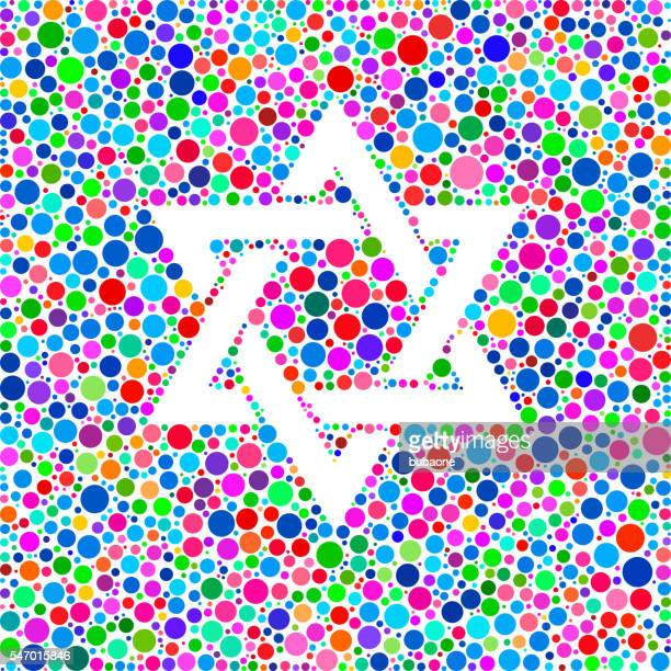 star of david icon on color circle background pattern - hebrew script stock illustrations, clip art, cartoons, & icons