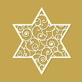 Star of David laser cut template with curled pattern inside. Symbol of Israel.