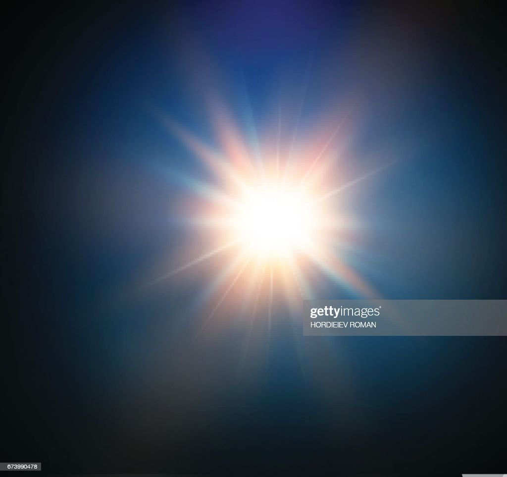 star on a blue background.bright flash.Realistic burst with flare. Vector illustration