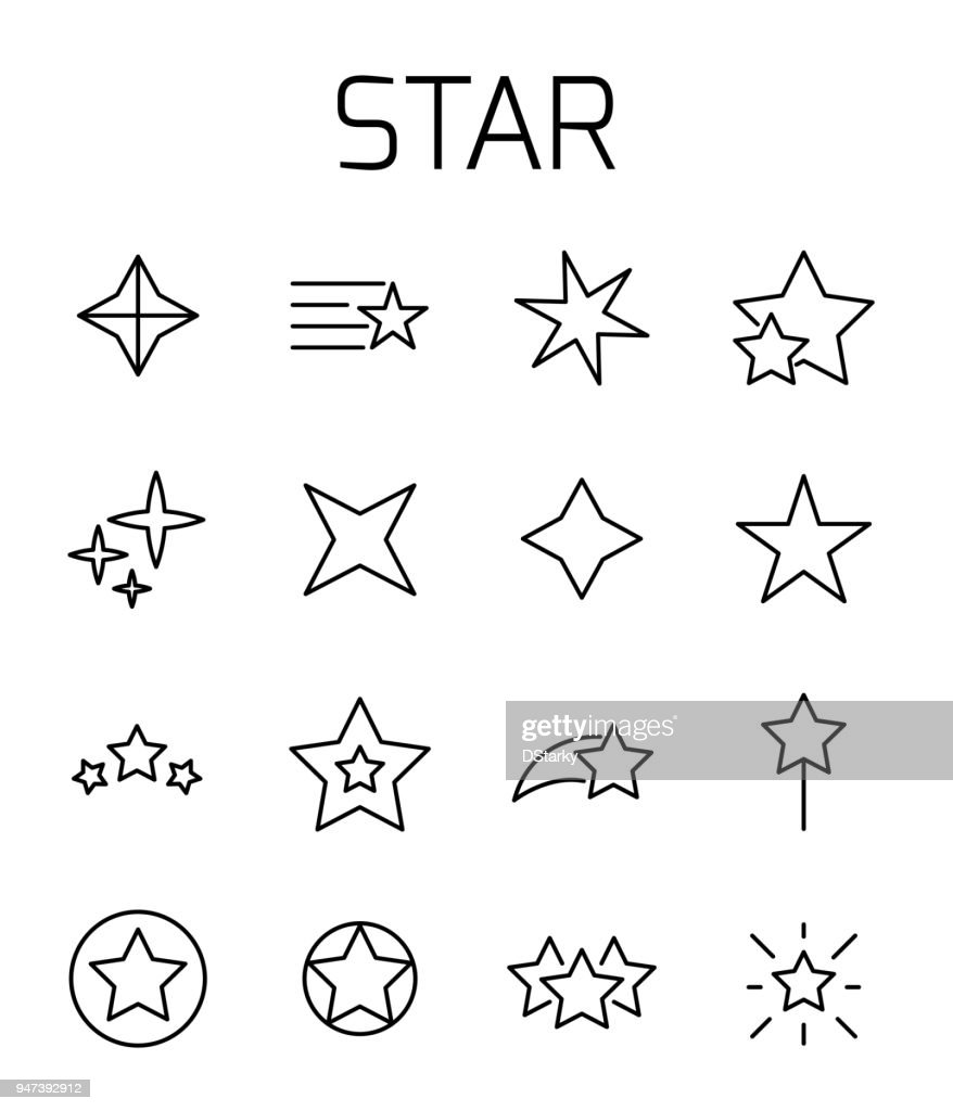 Star related vector icon set.