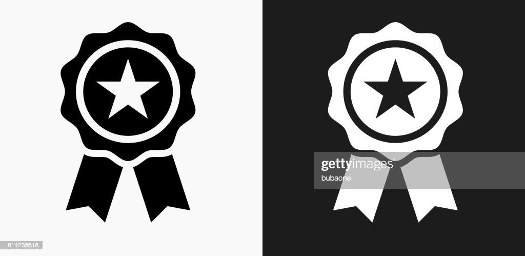 Star Ribbon Icon on Black and White Vector Backgrounds