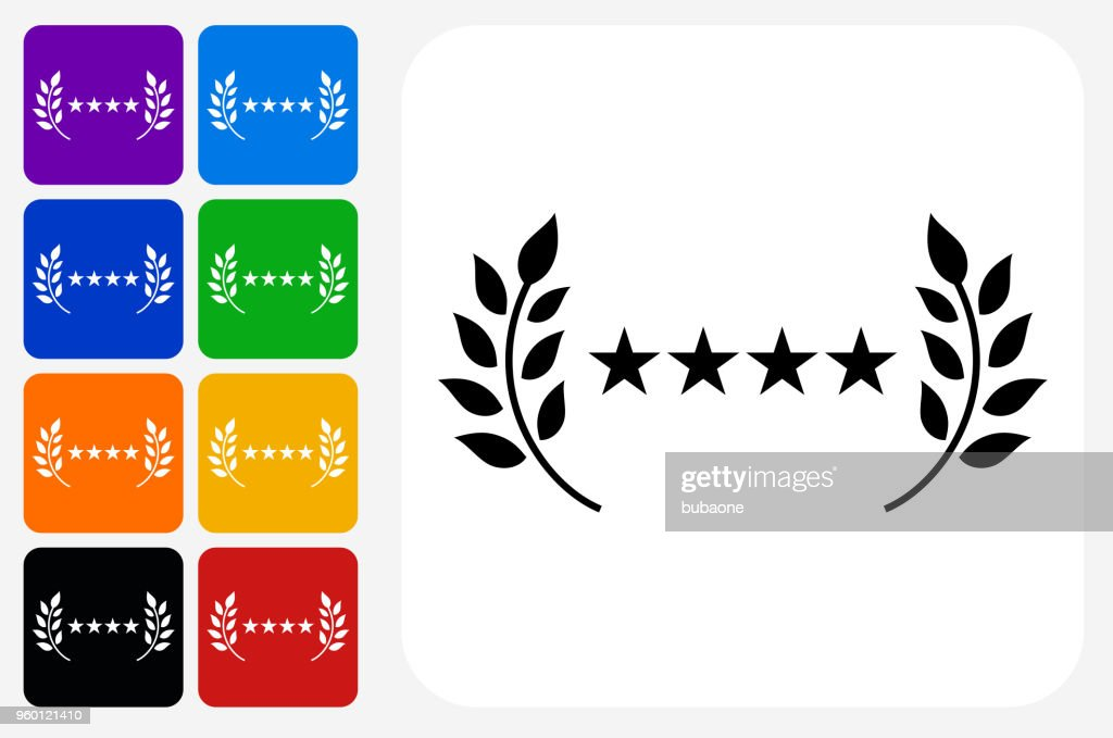 5 Star Service Icon Square Button Set : Stock Illustration