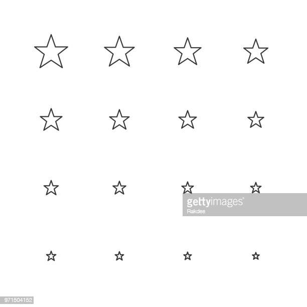 star shape icon - multi scale line series - celebrities stock illustrations