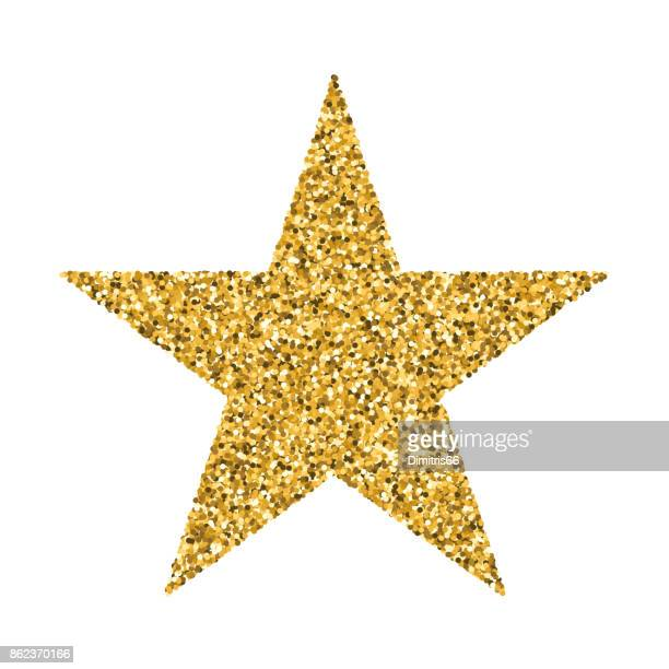 a star shape made from gold vector glitter on white background - shiny stock illustrations