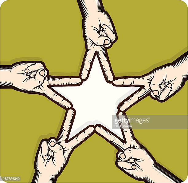 star shape whit hands intertwined - arm in arm stock illustrations, clip art, cartoons, & icons
