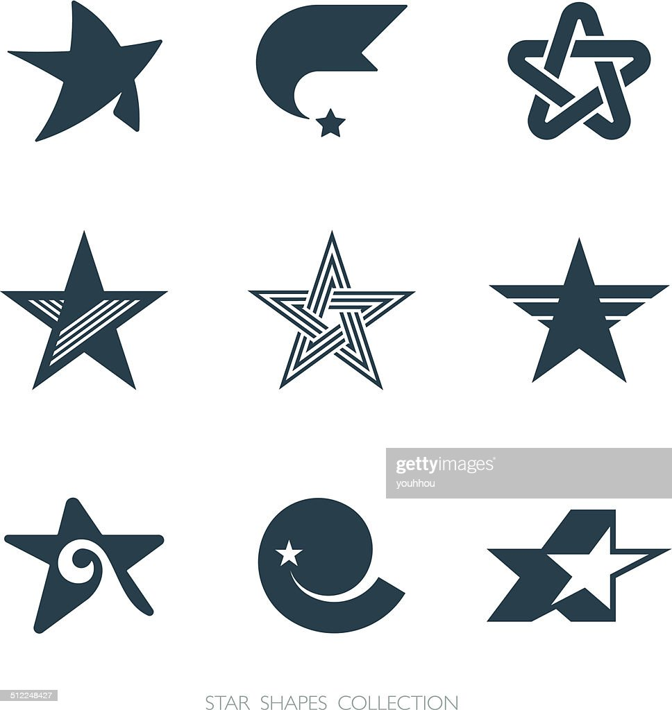 Star Shapes Collection. Vector icons set.