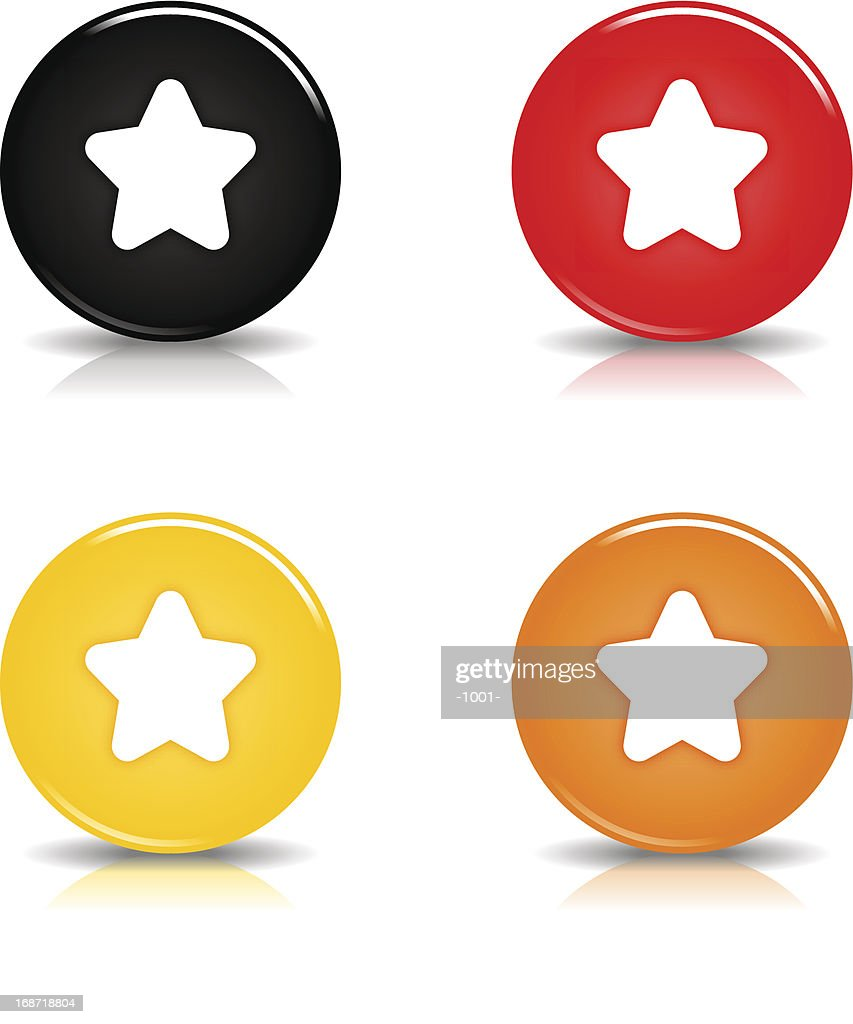 Star sign circle icon glossy black red yellow orange button