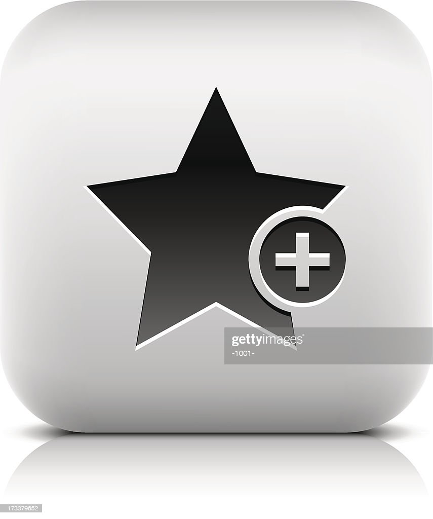 Star sign with plus pictogram square icon web button
