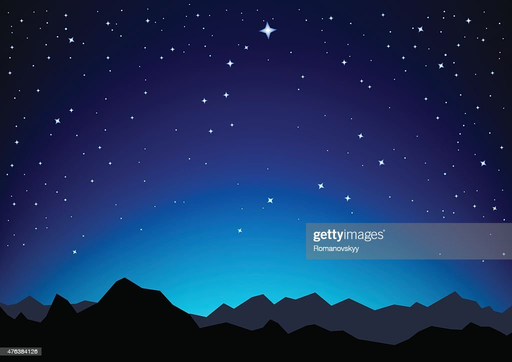 star sky mountains
