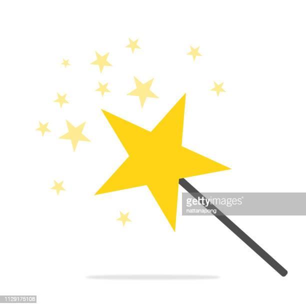 illustrazioni stock, clip art, cartoni animati e icone di tendenza di star stick magical or miracle concept - bacchetta
