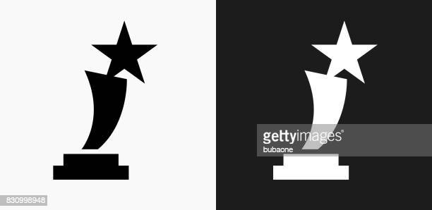 Star Trophy Icon on Black and White Vector Backgrounds