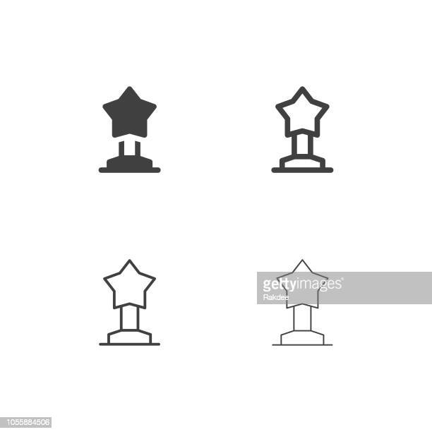 star trophy icons - multi series - sports league stock illustrations