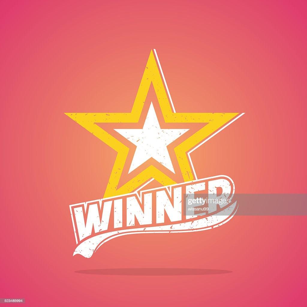 Star Winner, Retro Design, Vector illustration.