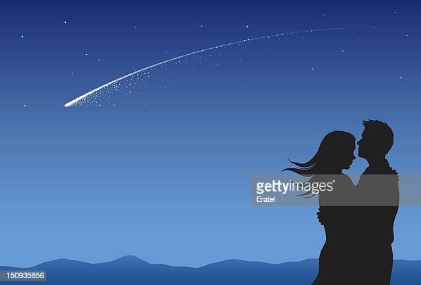 ilustraciones, imágenes clip art, dibujos animados e iconos de stock de star deseo - estrella fugaz