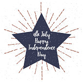 """Star with Grunge texture and """"4th July Independence Day"""" lettering"""