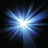 Star with rays white blue in space isolated and effect tunnel spiral galaxies, nebulae, cosmos on black background vector