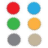 starburst label on white background. 6 starbursts. flat style. blank starburst label sign.