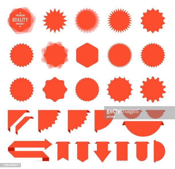 illustrazioni stock, clip art, cartoni animati e icone di tendenza di adesivi e nastri starburst sale - dare