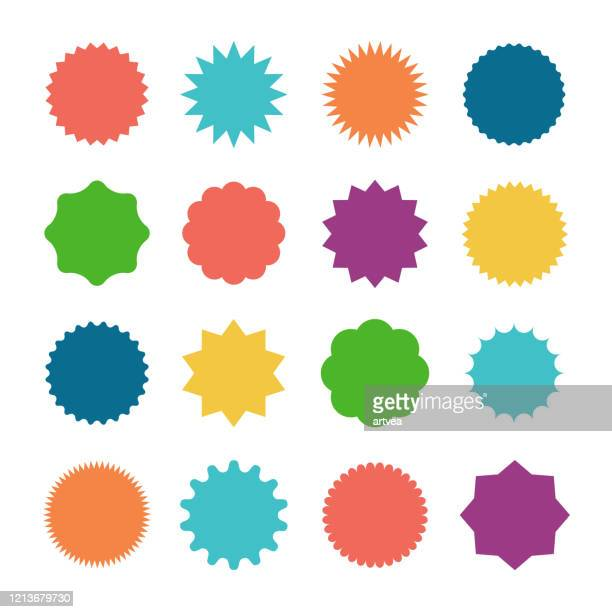 stockillustraties, clipart, cartoons en iconen met starburst sale stickers - vorm