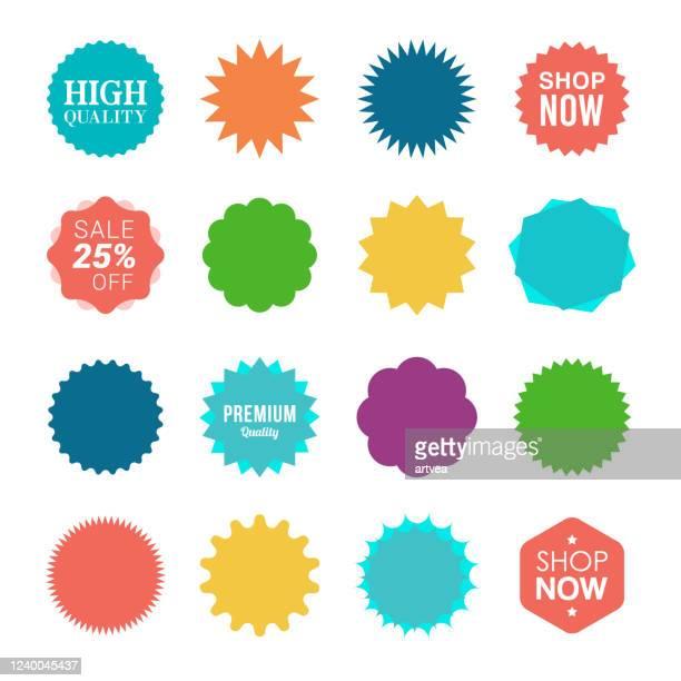 ilustraciones, imágenes clip art, dibujos animados e iconos de stock de pegatinas de venta starburst - dar