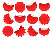 Starburst sticker. Shopping star burst button, red sale stickers and starburst shapes sparks isolated vector frames set
