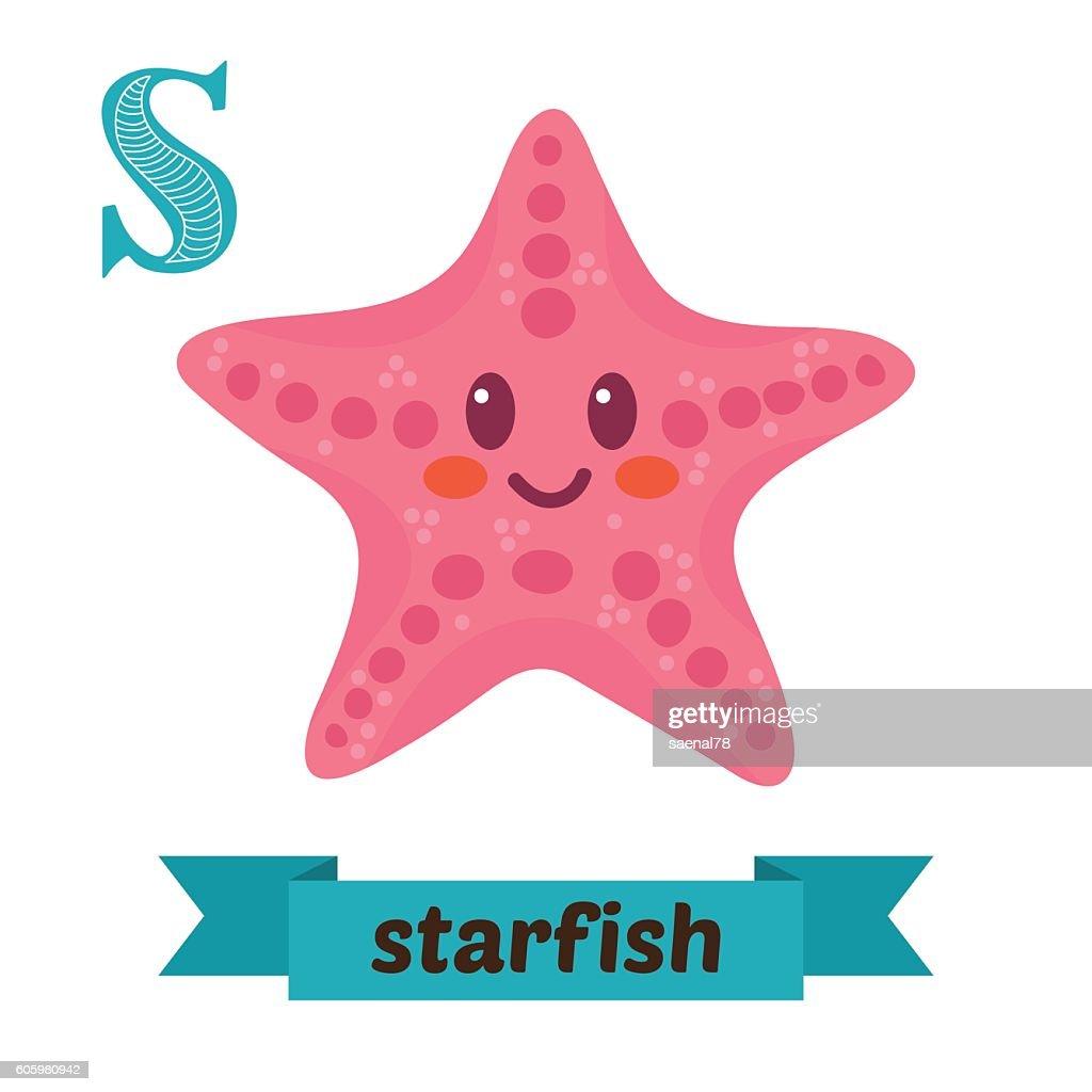 Starfish. S letter. Cute children animal alphabet in vector