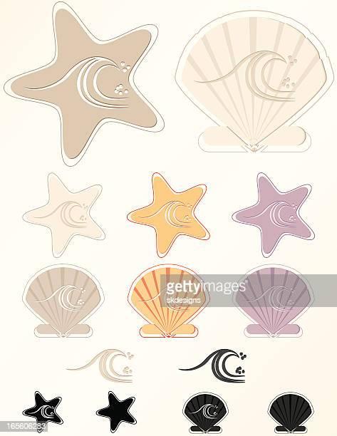 ヒトデ、海の波、シーシェルズビーチデザイン要素、アイコン、ロゴ