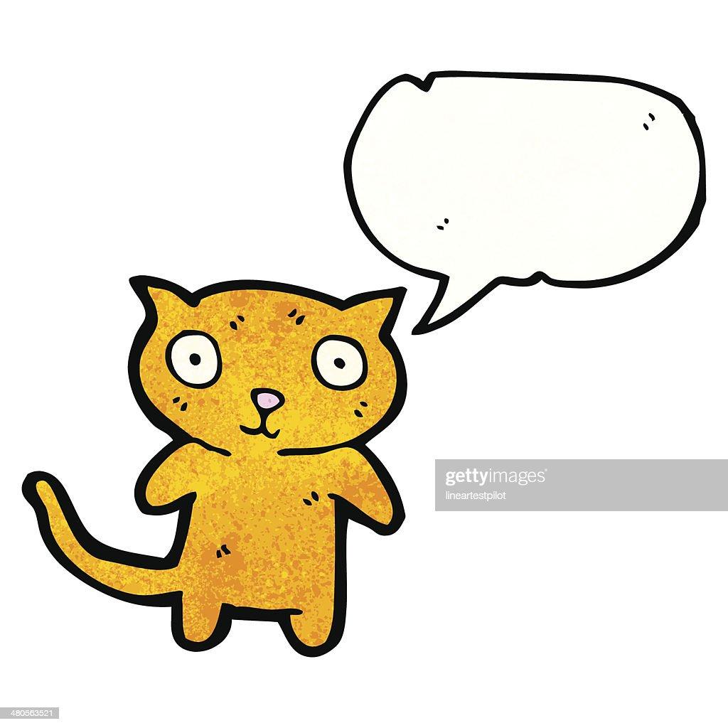 staring little cat cartoon : Vector Art
