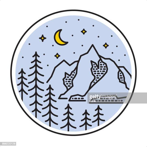 Starlight Мountain Forest landscape - Outline style nature