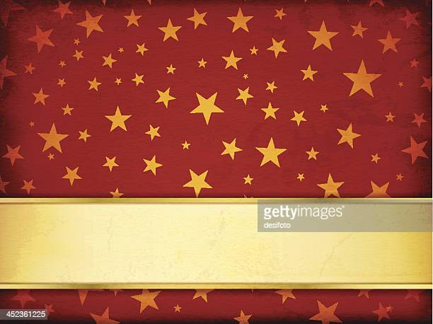 starry background with golden banner - maroon stock illustrations, clip art, cartoons, & icons