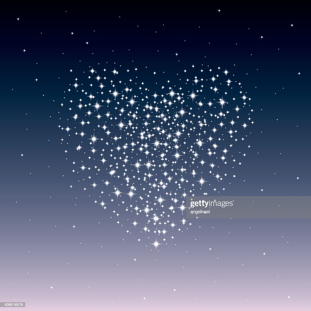 Starry heart as a galaxy. Valentine's day abstract background