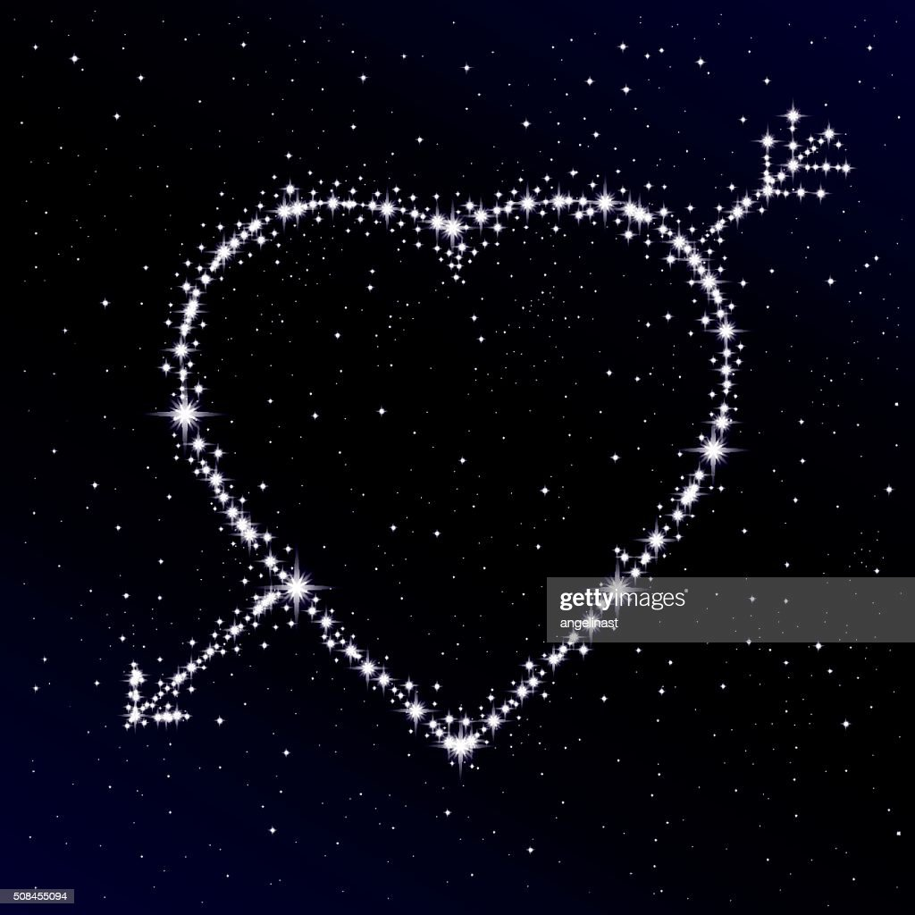Starry heart pierced with arrow. Valentine's day abstract background.