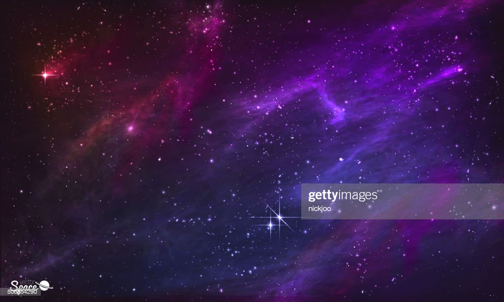 Starry Nebula. Colorful Outer Space background. Vector illustration