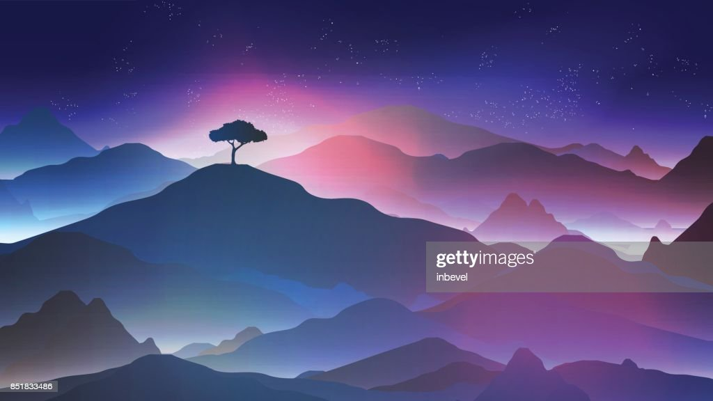 Starry Night in the Mountains with a Lone Tree - Vector Illustration