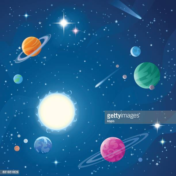 illustrazioni stock, clip art, cartoni animati e icone di tendenza di stars and planets - copy space