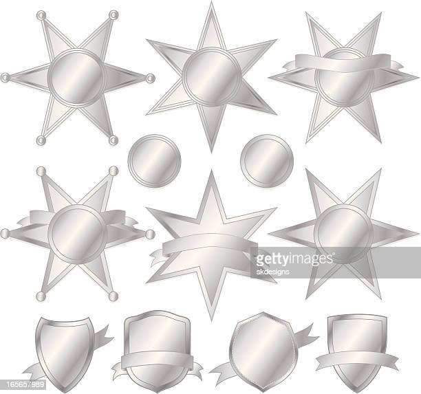 Stars and Police Badges Set - Silver