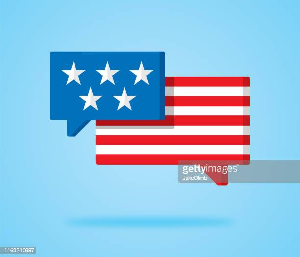 stars and stripes speech bubble icon - protestor stock illustrations, clip art, cartoons, & icons