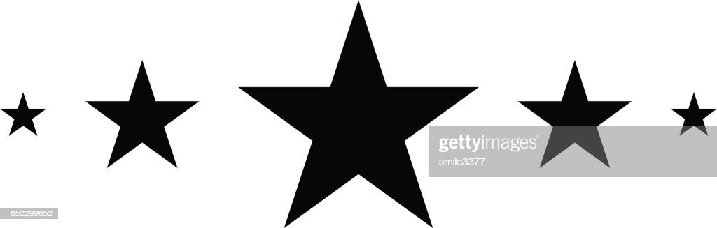 5 Stars, Black star in flat style, Star icon
