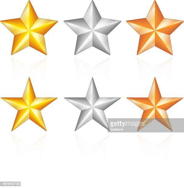 stars collection - bronze medal stock illustrations