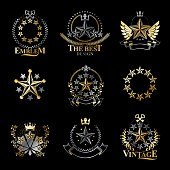 Stars emblems set. Heraldic Coat of Arms decorative icons isolated vector illustrations collection.