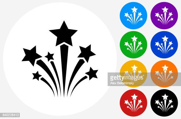 ilustraciones, imágenes clip art, dibujos animados e iconos de stock de stars icon on flat color circle buttons - fuego artificial