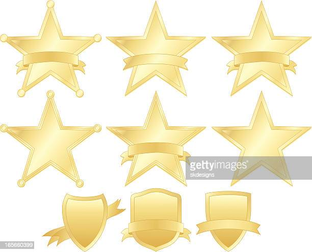 Stars, Police Badges, and Shields Set - Gold
