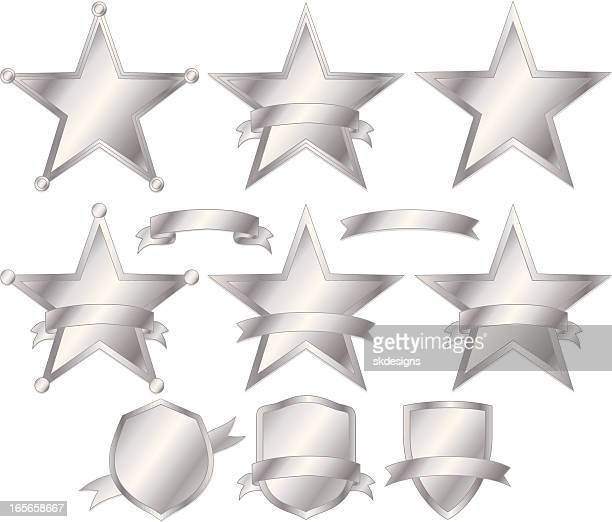 Stars, Police Badges, and Shields Set - Silver