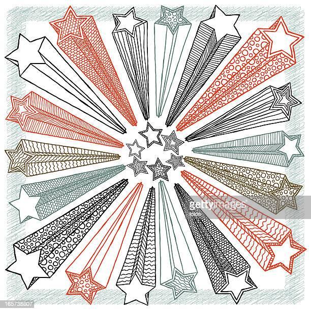 ilustraciones, imágenes clip art, dibujos animados e iconos de stock de estrellas en forma de garabatos - estrella fugaz
